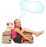 Smiling little schoolgirl Stock Images