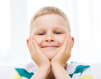 Smiling little student boy at home Stock Photography