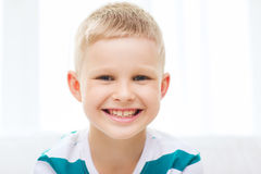 Smiling little student boy at home Royalty Free Stock Image