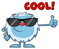 Smiling Little Yeti Cartoon Mascot Character With Sunglasses Holding A Thumb Up Stock Images