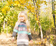 Smiling Little Young Girl at the Woodland stock photos
