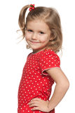 Smiling llittle girl in red shirt Royalty Free Stock Images