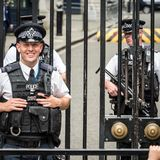 Smiling London police officers Royalty Free Stock Image