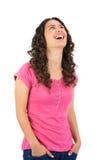 Smiling long haired brunette posing Stock Photos