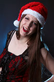 Smiling long haired santa girl Royalty Free Stock Photos