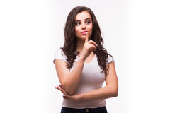 Smiling looking up young woman in casual smart clothing Royalty Free Stock Image
