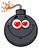 Smiling Love Bomb Face Cartoon Mascot Character With Hearts Eyes Royalty Free Stock Photos