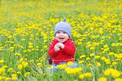 Smiling lovely baby against dandelions meadow. Smiling lovely baby age of 8 months sitting against dandelions meadow Stock Image