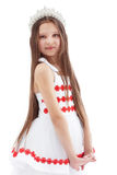 Smiling lovely girl posing in crown Royalty Free Stock Photo