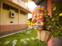 Smiling lovely Thai Greeting Clay doll for welcome Stock Photography