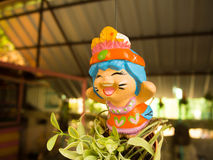 Smiling lovely Thai Greeting Clay doll for welcome Stock Image