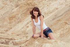 Smiling lovely woman on beach Royalty Free Stock Image