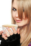 Smiling lovely young blonde with a cup Royalty Free Stock Photos