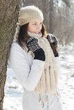 Smiling Lovely Young Woman Winter Portrait Royalty Free Stock Photography