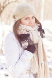Smiling Lovely Young Woman Winter Portrait Stock Photos