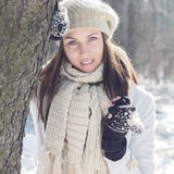 Smiling Lovely Young Woman Winter Portrait Royalty Free Stock Photos