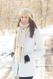 Smiling Lovely Young Woman Winter Portrait Stock Photography