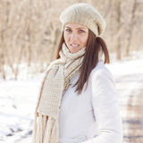 Smiling Lovely Young Woman Winter Portrait Stock Images