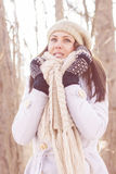 Smiling Lovely Young Woman Winter Portrait Stock Photo