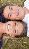 Smiling lovers lying on the grass Stock Images