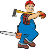 Smiling lumberjack - in working clothes Stock Photos