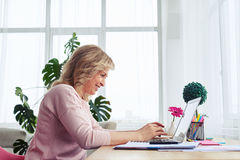 Smiling madam working in laptop in bright room Royalty Free Stock Photography