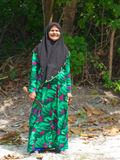Smiling maldivian old woman in traditional clothes Stock Photography