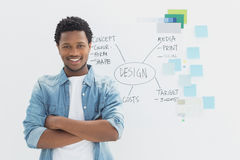 Smiling male artist with arms crossed in front of whiteboard Stock Photography