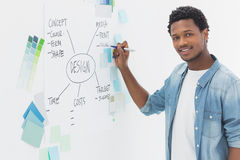 Smiling male artist with pen in front of whiteboard Stock Photo