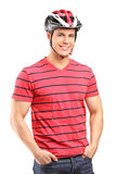 A smiling male athlete wearing helmet Stock Image