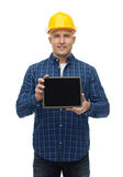 Smiling male builder in helmet with tablet pc. Repair, construction, building, people and maintenance concept - smiling male builder or manual worker in helmet Stock Photo