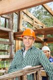 Smiling Male Construction Worker Carrying Ladder Stock Photo