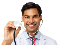 Smiling Male Doctor Holding Stethoscope Stock Photos