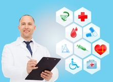 Smiling male doctor with stethoscope Royalty Free Stock Photo