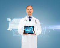 Smiling male doctor with stethoscope and tablet pc Stock Images