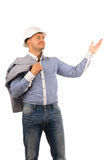Smiling Male Engineer Carrying Coat on Shoulder Royalty Free Stock Photo