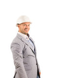 Smiling Male Engineer on Gray Coat Stock Photo