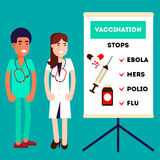 Smiling male and female doctors. Near the clipboard in doctor giving advice concept against virusis and pro vaccination. Flat design Stock Photo