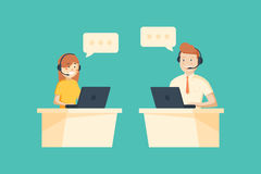Smiling male and female operator with headset working at call center. Customer service concept Royalty Free Stock Photo