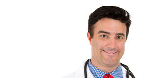 Smiling male healthcare professional or pharmacist or dentist or scientist or doctor or nurse wearing red tie Royalty Free Stock Photography