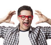 Smiling male hipster student at white background Royalty Free Stock Images