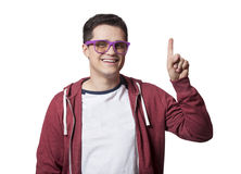 Smiling male hipster student at white background Royalty Free Stock Photo