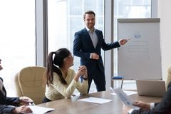 Smiling male mentor give flipchart presentation to employees. Smiling male employee present business project or idea on flipchart during casual negotiations royalty free stock photos