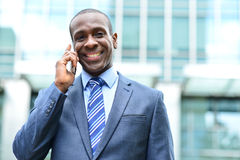 Smiling male professional talking on cell phone Stock Images