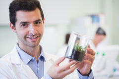 Smiling male researcher holding young plant at lab Stock Images