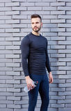 Smiling male runner in shirt Royalty Free Stock Photos
