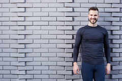 Smiling male runner in shirt Royalty Free Stock Image