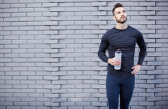 Smiling male runner in shirt Royalty Free Stock Photo