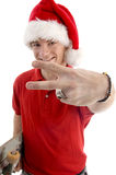 Smiling male showing victory sign Stock Photography