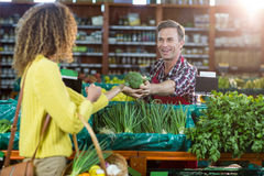 Smiling male staff assisting a woman with grocery shopping. Smiling male staff assisting a women with grocery shopping in supermarket Royalty Free Stock Photography